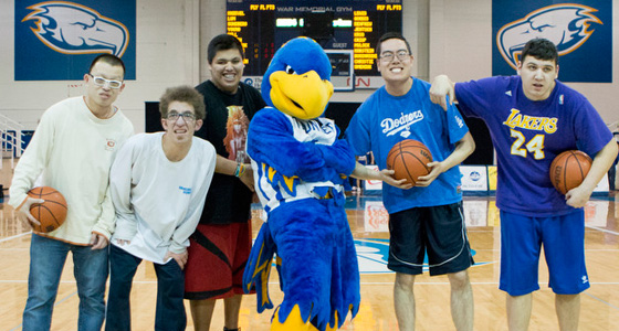 The B.U.I.L.D. club hosted a Charity Free-Throw contest with five Special Olympics athletes during a Thunderbirds Women's Basketball game on February 15.